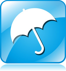 umbrella blue square icon
