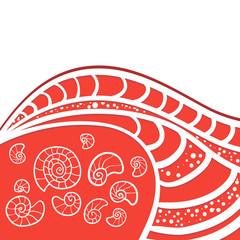 Wave sea seashells on red background postcard