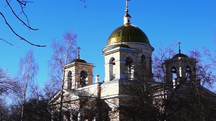Tilting shot of orthodox church of st. Alexander Nevsky