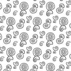 Black and white border Seashell illustration aqua