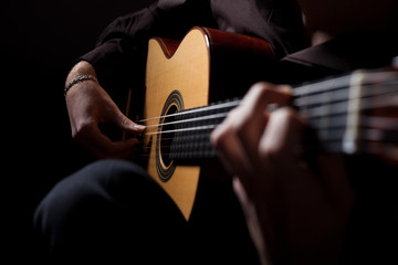 Man playing classic guitar