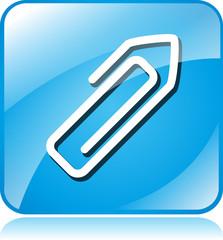 paper clip blue square icon