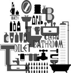 Silhouette pattern of bathroom and toiletries