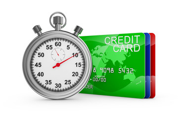 credit cards and stopwatch