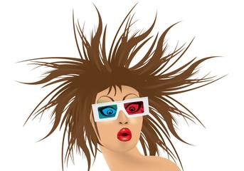 ragazza con occhiali 3d