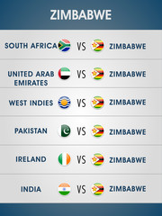 Schedule list of Zimbabwe matches for Cricket World Cup.