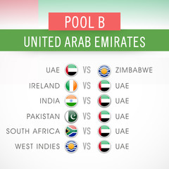 Cricket World Cup 2015, schedule detail of United Arab Emirates.