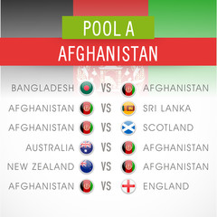 Cricket World Cup 2015 time table of Afghanistan under Pool A.