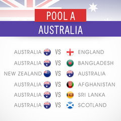 World Cup 2015, Cricket match schedule of Australia.