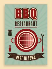 Vintage menu card for BBQ restaurant.