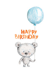 Grey bear with blue balloon. Birthday. Pencil illustration