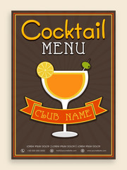 Vintage cocktail menu card for club or pub.