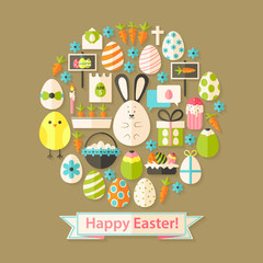 Easter Greeting Card with Flat Icons Set circular shaped