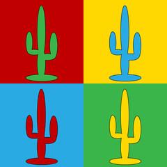 Pop art cactus symbol icons.