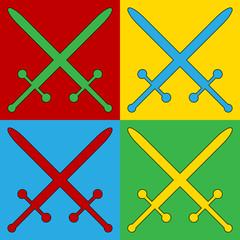 Pop art crossed swords symbol icons.