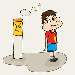 Cute boy saying no to cigarette for No Smoking Day.