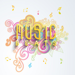 Stylish text Music Beats on colorful floral decorated background