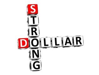 3D Crossword Strong Dollar on white background