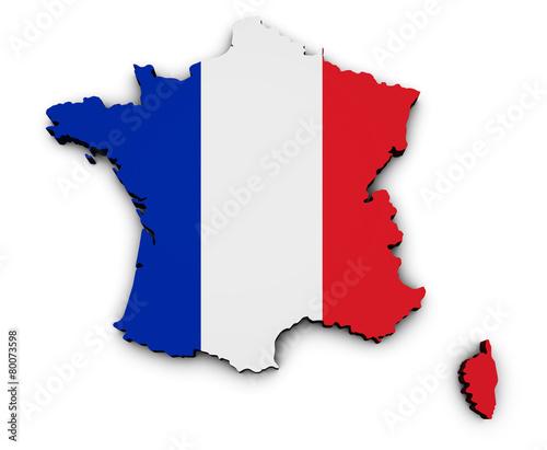 Fotobehang Parijs France Carte Flag Map