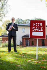 Estate agent waiting for customers