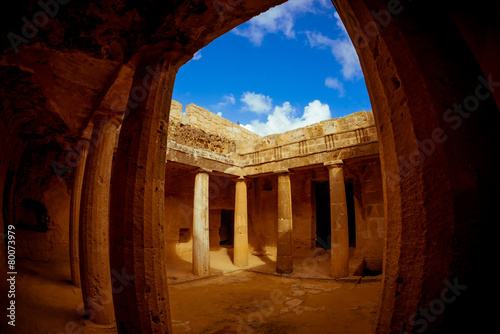 Tombs of the Kings, a famous tourist destination. Paphos distric - 80073979