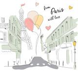 Postcard from Paris street, Eiffel tower, balloons, hand drawn