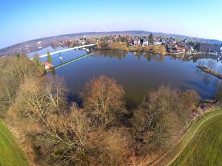 Reservoir in suburban district of Pilsen. Czech Republic.