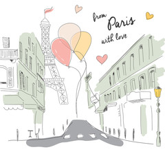 Postcard from Paris street, Eiffel tower, balloons, hand drawn
