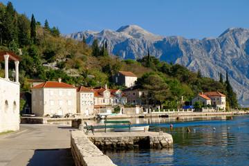 Beautiful view on city of Perast at Kotor bay
