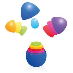 Easter Eggs Russian Doll Matryoshka Stacked