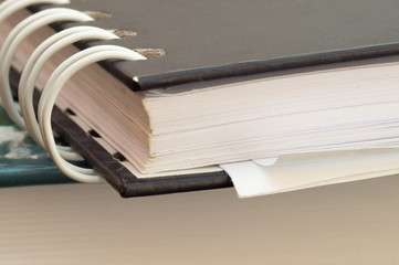 Macro view of a notebook with spiral binding