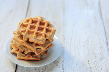 Wholegrain wheat and oat waffles
