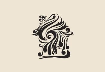 House swirl logo vectoe illustration