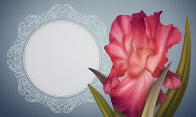 Fantasy Red Iris on colorful backdrop with lace vintage frame