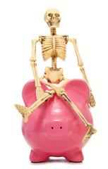 skeleton staff piggy bank