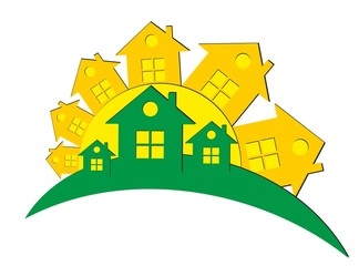 Logo of the eco-friendly cottage settlement with the sun.