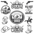 Set of vintage rodeo emblems and designed elements - 80076971