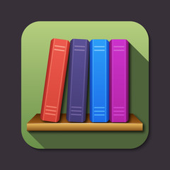 Vector bookshelf icon with long shadow