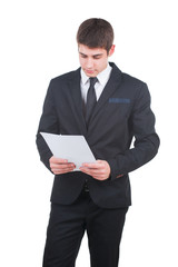Businessman with blank white paper