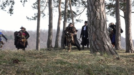 Fantasy Group running in small forest