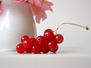 Red currant. Cluster of healthy fruit.