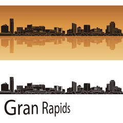 Grand Rapids skyline in orange background