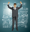Vector Businessman With Hands Up 07