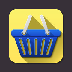 Vector shopping basket icon with long shadow