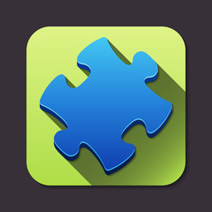 Vector puzzle piece icon with long shadow