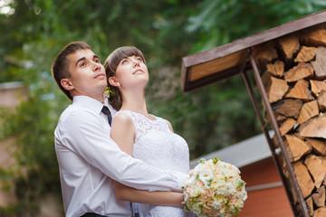 wedding couple on walking