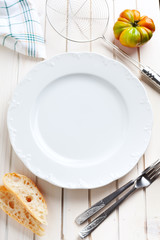 empty plate, table set