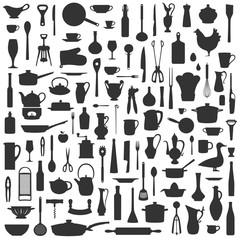 Silhouetten Hintergrund aus Küchenutensilien Schwarz Weiß