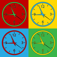 Pop art clock symbol icons.