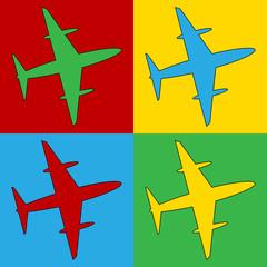 Pop art plane symbol icons.